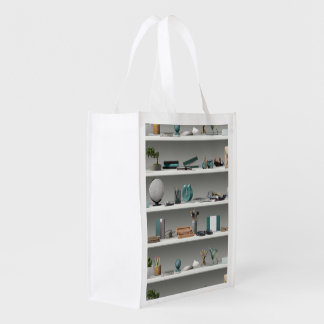 Office Shelves Wellness Teal Reusable Grocery Bag