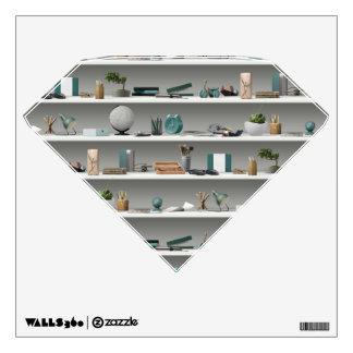 Office Shelves Wellness Teal Wall Sticker