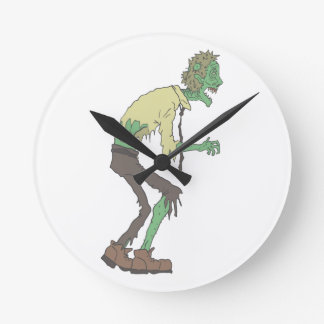 Office Worker Creepy Zombie With Rotting Flesh Out Round Clock
