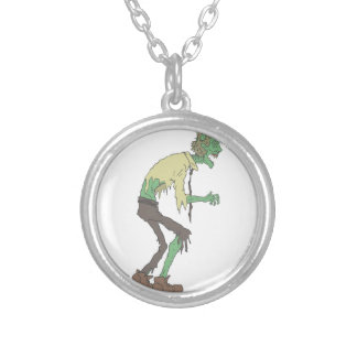 Office Worker Creepy Zombie With Rotting Flesh Out Silver Plated Necklace