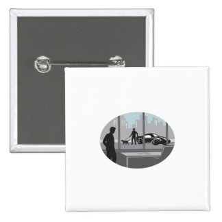 Office Worker Looking Through Window Oval Woodcut 2 Inch Square Button