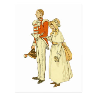 Officer and Lady ~ Vintage Illustration Postcard