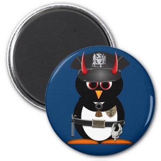 Officer Evil Penguin - STOP! 2 Inch Round Magnet