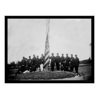 Officers Lowering the Flag Near Georgetown 1865 Poster