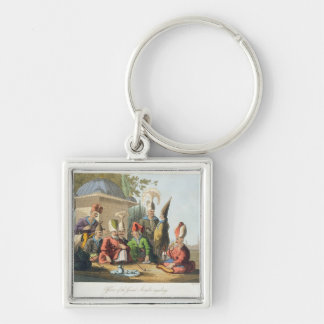 Officers of the Grand Seraglio Regaling, engraved Silver-Colored Square Keychain