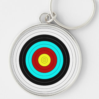 OFFICIAL ARCHERY TARGET ~ Silver-Colored ROUND KEYCHAIN