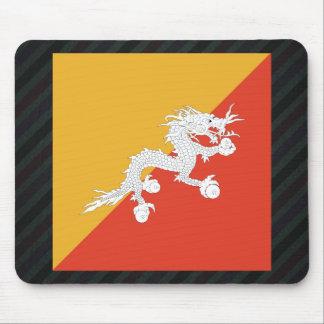Official Bhutan Flag on stripes Mouse Pad