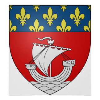 Official Blason Paris Coat Heraldry Symbol France Print