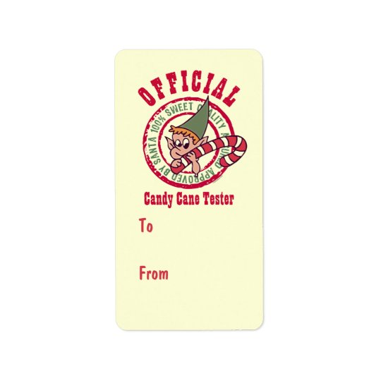 Official Candy Cane Tester Gift Tag Label