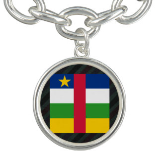 Official Central African Republic Flag on stripes Charm Bracelets