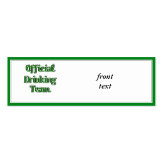 Official Drinking Team Text Image Pack Of Skinny Business Cards