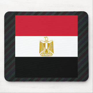 Official Egypt Flag on stripes Mouse Pad