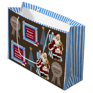 Official Gift From Santa  w/Name & Location Blue Large Gift Bag