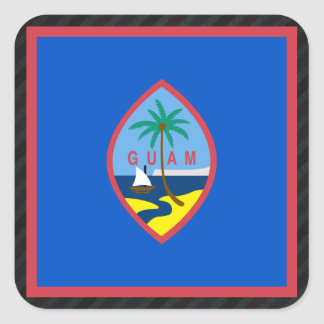 Official Guam Flag on stripes Square Sticker
