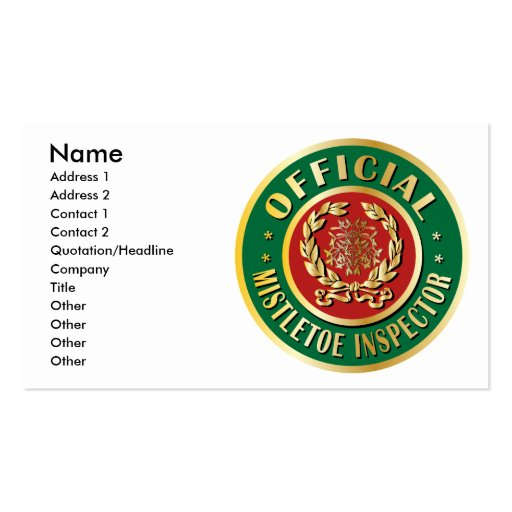 Official Mistletoe Inspector Business Card