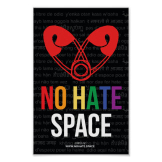 """Official No Hate Poster Zazzle Edition 6.5""""x10"""""""