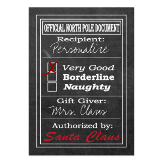 Official North Pole Document - Chalkboard Large Business Card