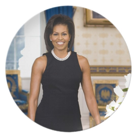 Official Portrait of First Lady Michelle Obama Plate