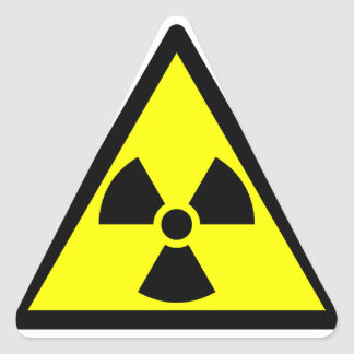 Official radioactive trefoil symbol triangle sticker
