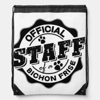 Official Staff of a Bichon Frise Drawstring Bags