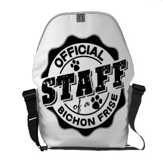 Official Staff of a Bichon Frise Messenger Bags