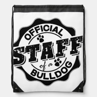 Official Staff of a Bulldog Drawstring Bags