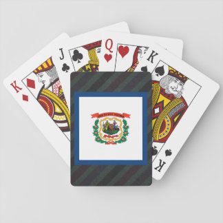 Official West Virginia Flag on stripes Playing Cards