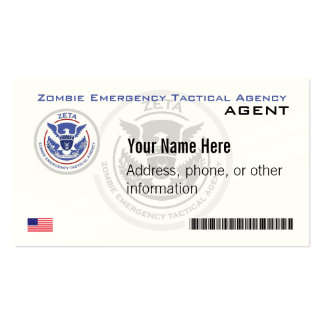 Official Zombie Emergency Tactical Agency Business Business Card