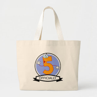 Officially 5 Birthday Banner Jumbo Tote Bag