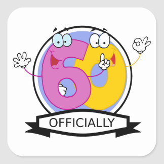 Officially 60 Birthday Banner Square Stickers