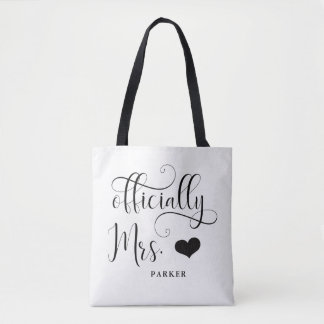 Officially Mrs | New Bride Personalized with Heart Tote Bag