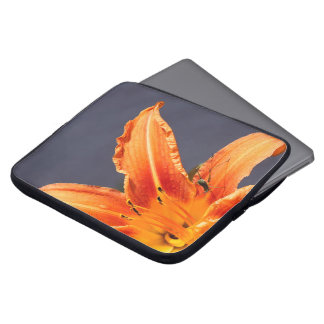 Offset Day Lily and Critter Neoprene Laptop Sleeve