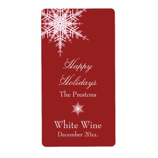 Offset Snowy Red Wine Label Shipping Label