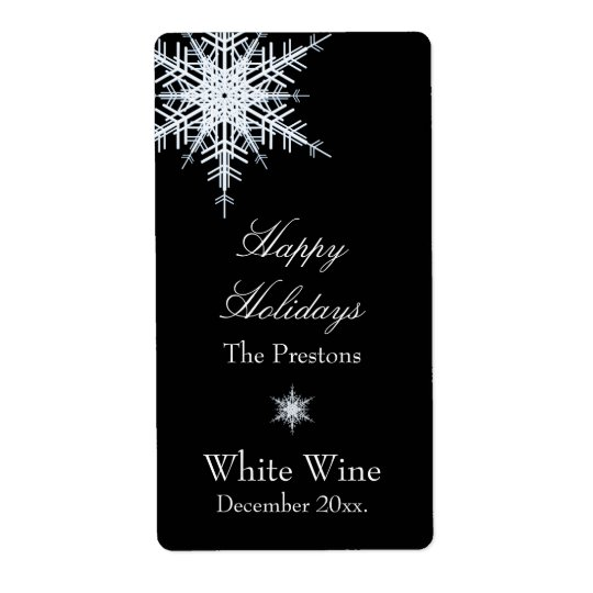 Offset Snowy White Wine Label Shipping Label
