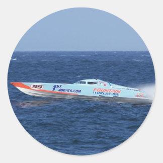 Offshore Powerboat Racer Round Sticker