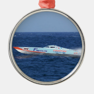 Offshore Powerboat Racer Silver-Colored Round Ornament