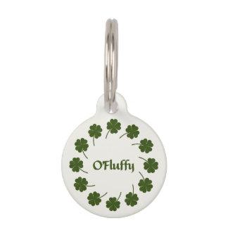 """O'Fluffy"" Cat Tag with Four-Leaf Clover"