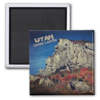 Ogden Canyon, Norther Utah Rock Cliffs Square Magnet