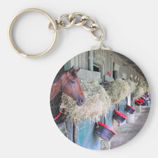 Ogden Phipps Stables with Scampering Basic Round Button Keychain