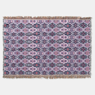 Ogee Navy Orchid Vintage Style Moroccan Pattern Throw Blanket