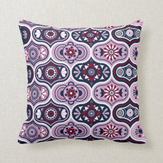 Ogee Navy Orchid Vintage Style Moroccan Pattern Throw Pillow