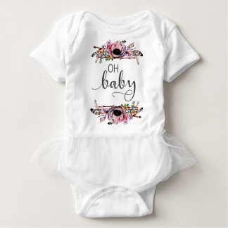 Oh Baby | Baby Girl Boho Floral Feather Frame Tutu Baby Bodysuit