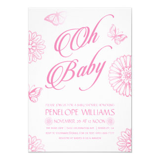 Oh Baby | Baby Shower Invitations | Pink