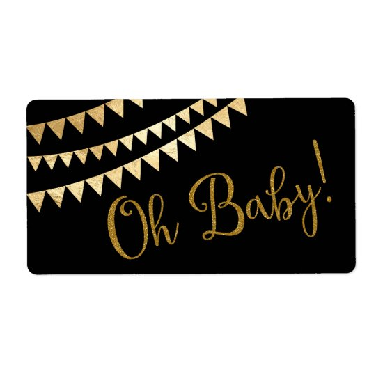 Oh Baby Baby Shower Water Bottle Shipping Label