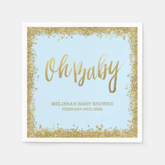 Oh Baby Blue Gold Glitter Baby Shower Paper Napkins