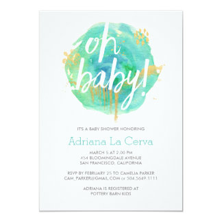 Oh Baby Blue watercolor Baby Shower Invitation