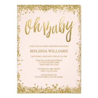 "Oh Baby Blush Pink Gold Glitter Baby Shower 4.5"" X 6.25"" Invitation Card"