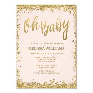 "Oh Baby Blush Pink Gold Glitter Baby Shower 5"" X 7"" Invitation Card"