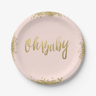 Oh Baby Blush Pink Gold Glitter Baby Shower Paper Plate