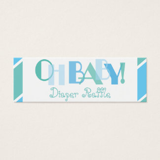 Oh Baby Boy Blue Modern Diaper Raffle Mini Business Card